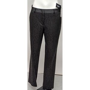 NWT DKNY Black Floral Lace Satin Waist Pants 6